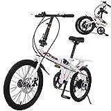 20in 7 Speed Folding Bicycle Mini Mountain Bike for Adult Men Women, Portable High Tensile Steel Folding Bike Bicycle Urban Commuters (01 White A)