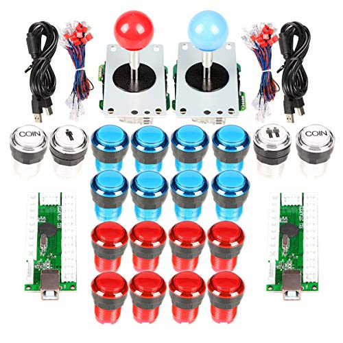 EG STARTS Arcade Cabinet Parts 2x 8 Way Joystick + 16x LED pulsador iluminado + 2 jugadores + botones de monedas para Raspberry Pi 3B Model Project DIY