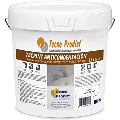 TECPINT ANTICONDENSACIÓN de Tecno Prodist - 13 Litros - Pintura Anti-condensación y Anti-moho al Agua para Interior y Exterior - Paredes y Techos - Buena Calidad - Fácil Aplicación - (BLANCO)