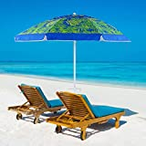 YATIO 7ft Beach Umbrella SPF/UPF100+, Beach Umbrellas for Sand Heavy Duty Wind with Sand Anchor Sand Screw, Tilt, Telescopic Pole, Sturdy, Windproof -Coconut Palm