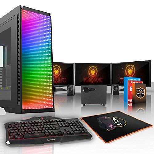 Fierce QUAKE High-End RGB Gaming PC - 4.2GHz 6-Core AMD Ryzen 5 3600, 240GB SSD, 2TB HDD, 32GB, RTX 3070 8GB, Win 10, Tastiera (QWERTY), Mouse, 3x 21.5 pollici Monitor, Altoparlanti 764831