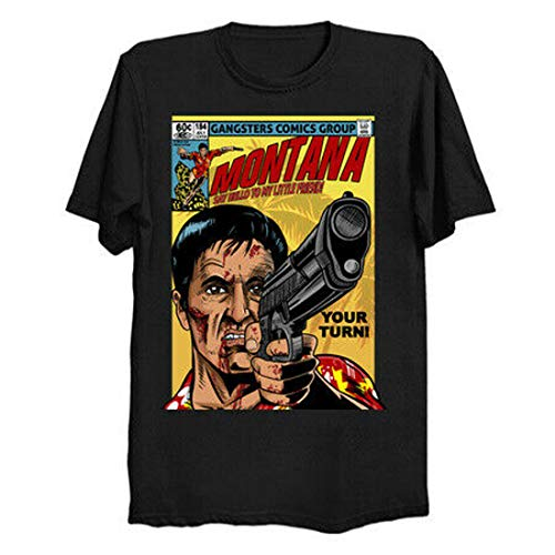 Scarface Al Pacino Tony Montana x Vintage Cover Black T-Shirt Frank Miller
