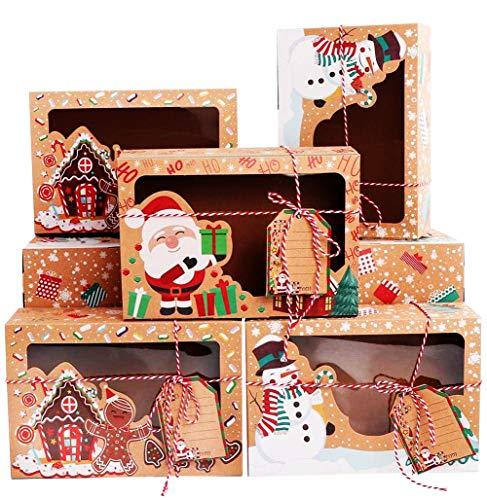 Qsnn Keksverpackungen Weihnachten Keksschachtel mit Sichtfenster und DIY Karten, Kekse Verpackung Weinachten Schachtel Deko Geschenk Box Kekstüten Papier Groß Keksschachtel für Plätzchen - 12Stk