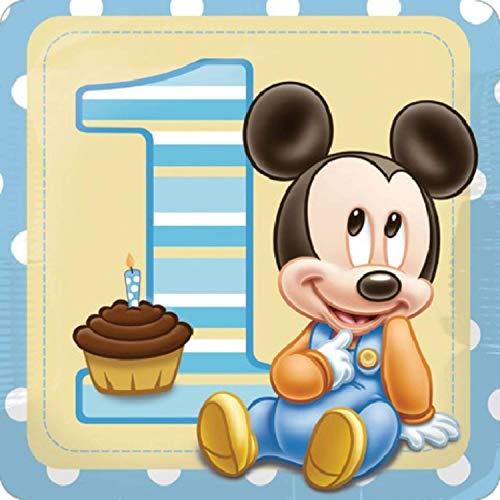 Cialda per torta Primo Compleanno Baby Topolino Decorazione alimentare personalizzabile Gluten free Topper Cake Design (quadrata) (Pasta di zucchero, 20 x 20 cm)
