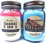 Combo Barber Shop & Papa's Pipe Set of Two 16oz Country Jar Soy Candles Great Unique Scents for Men