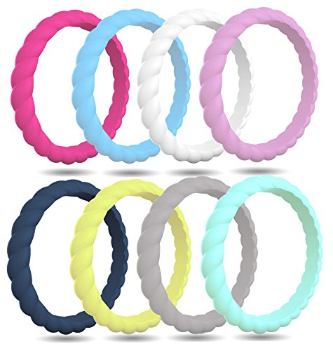 FluxActive Silicone Wedding Ring for Women (8 Pack) Thin Stackable Rubber Bands - Woven Pattern (Lavender, Teal, Midnight Blue, White, Fuchsia, Gray, Lime Green, Light Blue, 7)