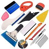 Ehdis Kit de instalación de envoltura de vinilo para herramienta de película de tintado de ventanas con raspador plástico, escurridor de agua, barra de vinilo micro, cortador, cuchillo de uso general y cuchillas