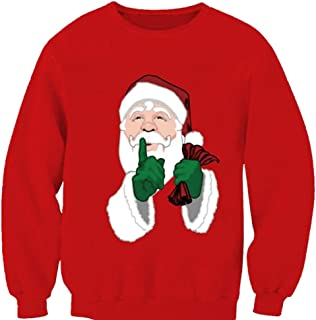 Men's Loose Festive Holiday Santa Claus Ugly Christmas Sweater Top