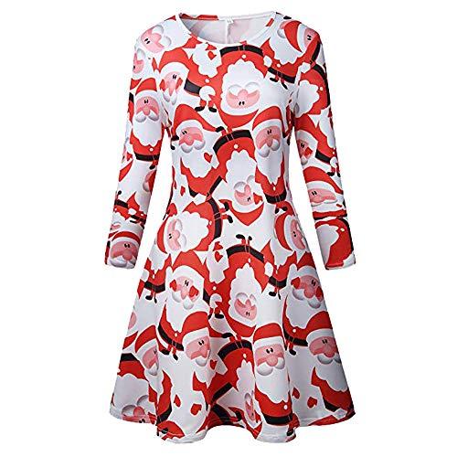 OSYARD Weihnachts Pullover Kleid Damen,Christmas Dress Mädchen, Frauen Vintage Frohe Weihnachten Drucken A-Linie Swing Kleid Lose 50s Retro Abendkleid Rundhals Mini Dress(XL, Rot)