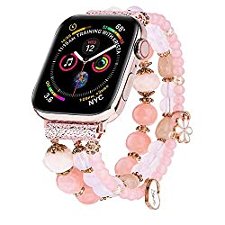 pink beaded apple watch band