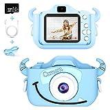 Caiery Bambini Fotocamera Digitale Selfie Macchina Fotografica con Scheda SD 32 GB, Portatile Videocamera, Dual Lens Camera Regalo di Compleanno per Bambini (Blu)