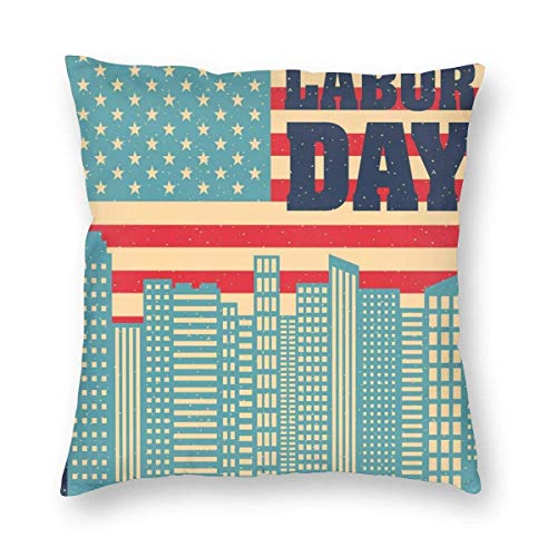 QUEMIN for Teenagers Grungy Pattern of Geometric Buildings and Flag 18 x 18 Inches Cushion Case Luxury European Throw Pillow Cover Decorative Pillow for Couch Living Room Bedroom Car