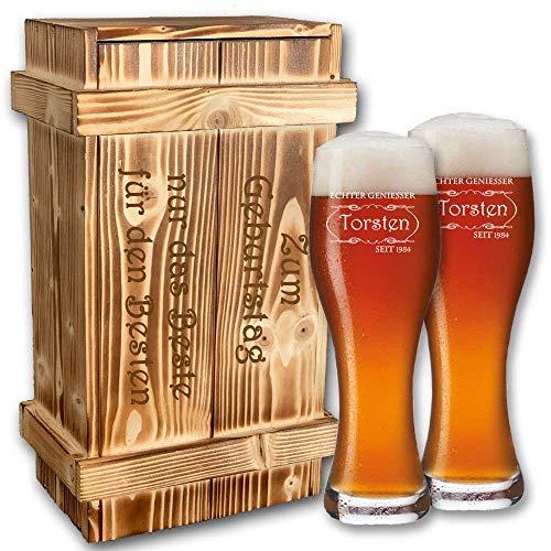 GravurXXL 2er Weizenbier-Set von Leonardo in geflammter Holzkiste + kostenlose Gravur | Geburtstagsgeschenke | Biergeschenke | Weissbierglas | Weizenglas im Geschenkset (B5)
