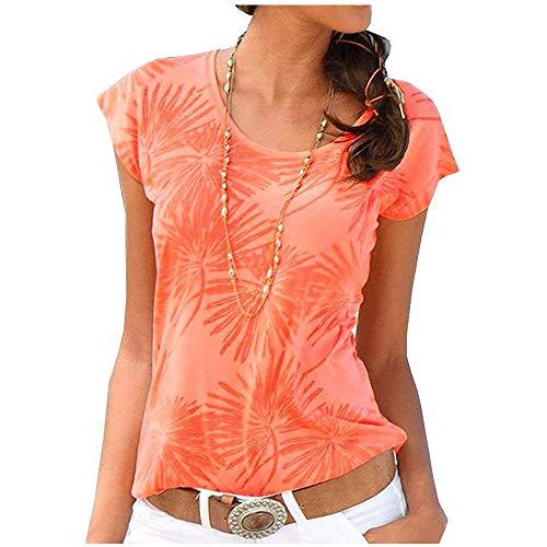 LANHAI Damen T-Shirt Sommer Kurzarm Blusen Blumenmuster Elegant Rundhals Oberteile mit Sexy Gaze Hinter Casual Basic Tops Shirt