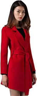 Spring Air Women Long Double Faced 100% Wool Fashion Coat with Removable Belt