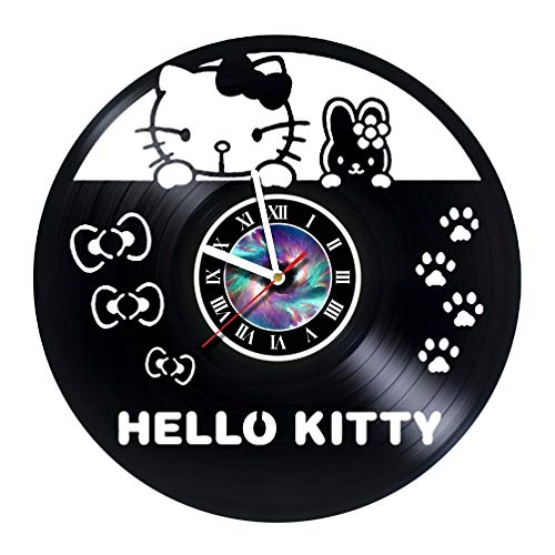 KravchArt Hello Kitty - Cartoon - Vinyl Record Wall Clock - Get Unique Gifts Presents for Birthday, Christmas, Ideas for Boys, Girls, Men, Women, Adults, him and her - Unique Design