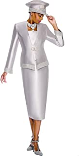 Women Church Suits with Hats Church Dress Suit for Ladies Formal Clothes White