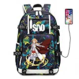 Kaiyufei Sword Art Online Anime Mochila Unisex Multiusos Impermeable Casual Mochilas Estudiante Escolar Mochila Bolsas Escolares Viaje Mochila Para Portátil Con Puerto De Carga Usb Deportes Mochila