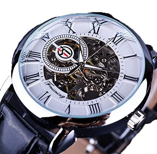 Excellent Reloj para Hombre Mecánico de Lujo Acero Inoxidable Skeleton Automático Mecánico Mecánico Reloj Muñeca Reloj de Cuero Casual,A09
