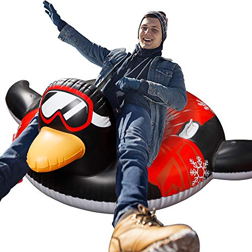 Triumpeek Inflatable Snow Tube, 62 Inch Winter Heavy Duty Snow Tubing, Inflatable Sled for Adults (Penguin)