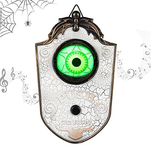 KI Store decoración de Halloween, Timbre Espeluznante con luz de Globo Ocular, decoración de Puerta para casa embrujada y Fiesta, Club Nocturno, decoración para Colgar en la Pared