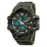 Unequetrend Army Print Sports Casual Dual Time Multi-Functional Analog-Digital Wrist Watch