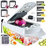Vegetable Chopper Slicer, RUK 12-in-1 Veggie Salad Chopper Food Cutter Dicer Pro Onion Chopper with Container for Potato Salad Fruit Apple Carrot Zoodle Maker Lemon Squeezer