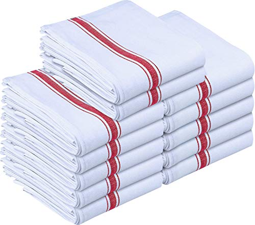 Utopia Towels Kitchen Towels 12 Pack, 15 x 25 Inches Cotton Dish Towels, Tea Towels and Bar Towels (Red)