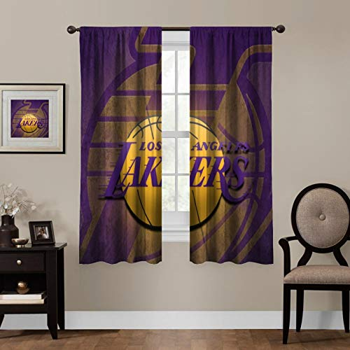 YaoStar for Lakers Animated Blackout Heat Insulation Curtains, Used for Children and Adolescent bedrooms, 2 Panels, 55x45 inches