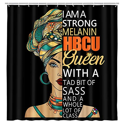 African American Woman Shower Curtain, Black Tribal Girl with Inspirational Quotes Word Shower Curtain Set, Black Girl Afro Fabric Shower Curtain for Bathroom Accessories with Hooks (69'' W By 70'' L)