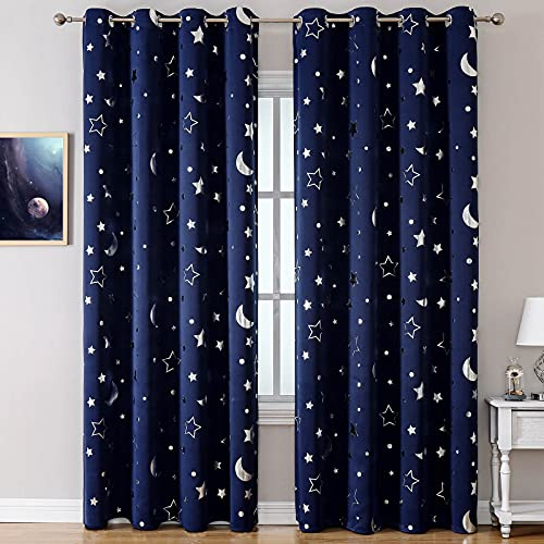 WUBODTI Navy Blue Nursery Blackout Curtains for Boys 2 Panel Sets, Space...
