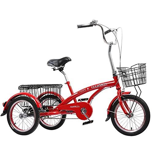 Triciclo para adultos Bicicleta De Tres Ruedas De Triciclo De Triciclo De Triciclo Para Adultos De 16 Pulgadas Con Canasta De Gran Tamaño Para La Recreación De La Bicicleta De Las Mujeres (Color:rojo)