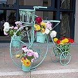 Soporte de Flores de Bicicleta Europeo Creativo Estante de Flores de Piso de balcón de múltiples Capas de Hierro Forjado Estante de Olla de rábano Verde-b 84x70cm (33x28 Pulgadas)