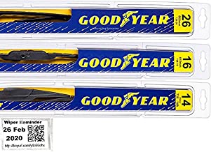 Windshield Wiper Blade Set/Kit/Bundle for 2007-2012 Mazda CX-7 - Driver, Passenger Blade & Rear Blade & Reminder Sticker (Premium with Goodyear Rear)
