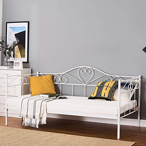 2 Styles Metal Bed Frame Day Bed 3ft Single Sofa Guest Bed Black/White New (Style2 Daybed, White)