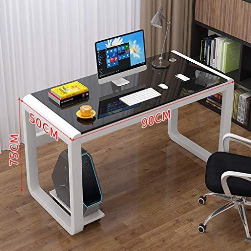 Escritorio de computadora Mesa de escritorio de computadora, escritorio de vidrio templado, moderno y simple, tipo económico doméstico, escritorio de estudio, mesa de escritorio, trabajo de oficina e