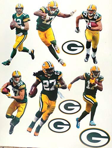 """Green Bay Packers FATHEAD Team Set 6 Players + 4 Packers Logo Set Official NFL Vinyl Wall Graphics - Each Player 7"""" INCH"""