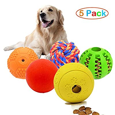 Volacopets 5 Different Functions Interactive Dog Toys,Dog Puzzle Toys,IQ Treat Ball for Medium Large Dog,Dog Squeaky Balls,Dog Chew Toys Durable,Dog Ball,Food Treat Dispensing Toys,Rope Toys