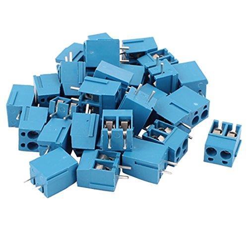 TOOGOO 30Pcs 2-Wege 2P Leiterplattenmontage Schrauben Klemmenleiste Steckverbinder 5.08 mm Rastermass Blau