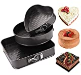 Aebor Springform Pan Set, Set 3 Pieces/Set, Heart-shaped & Round &Square pan,Non-stick Bakeware Cheesecake Pan with Removable Bottom Leakproof Round Cake Pan(10.5/9.5/8.5 inch)