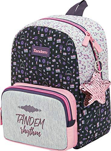 OFITURIA Schulrucksack Tandem Music   Kinder-Rucksack in kleiner Größe, Kindergartenrucksack mit Reißverschlussfach aus Metall, leicht zugänglich, Fronttasche – Maße: 23 x 28 x 10 cm