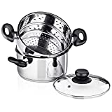 Chef's Star 3 Piece Stainless Steel Stack and Steam Pot Set - 2 Quart Steamer and 3 Quart Saucepot...