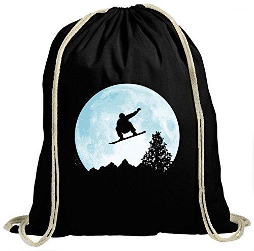 Snowboard Vor Dem Mond Premium Turnbeutel | Wintersport | Snowboarden | Schnee | Unisex | Gymbag, Farbe:Schwarz (Gymbeutel);Größe:37cm x 46 cm