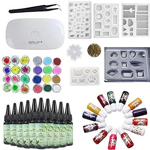 10X 30ML resina epossidica di cristallo + lampada a led UV con pinzetta, 13 colori pigmento liquido 24 decorazione + 6 stampi con varie forme pendente, fiori di ciliegio, gemma, animale carino