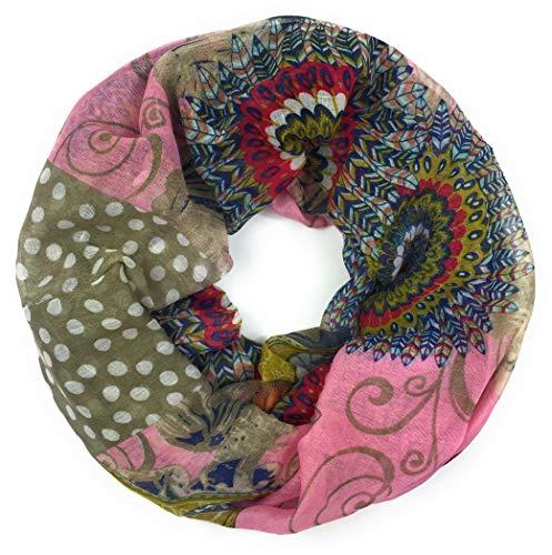 traumhaft leichter Loop im Ethno-Style Schlauch-Schal Rosa