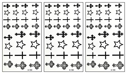 PARITA Small Tattoos Crucifix Christianity Cross Temporary Tattoos Stickers Cross Cartoon Tattoo Fake Body Neck Arm Chest Shoulder Tattoo Removable Style Fashion Fantasy Fun Party (Pack 3 PCS.) (01)
