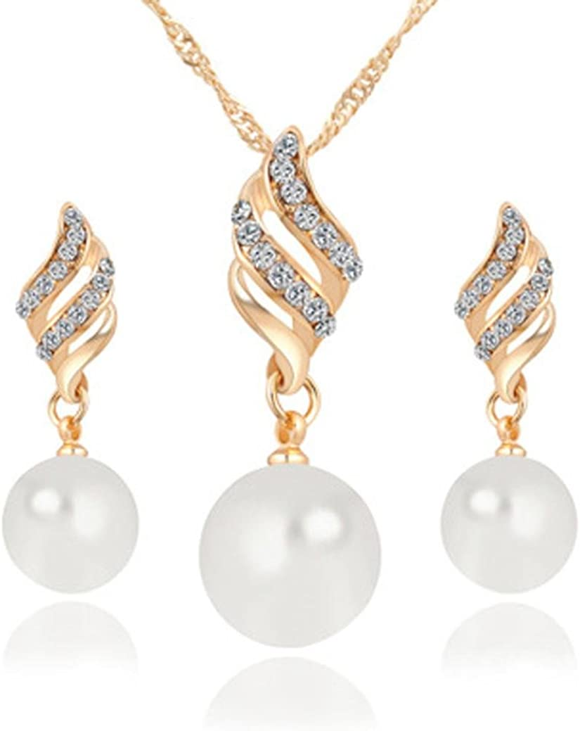 Hmlai Clearance! Women Luxury Princess Bridal Jewellery Set Spiral Shaped Pearl Stud Earrings+ Necklace