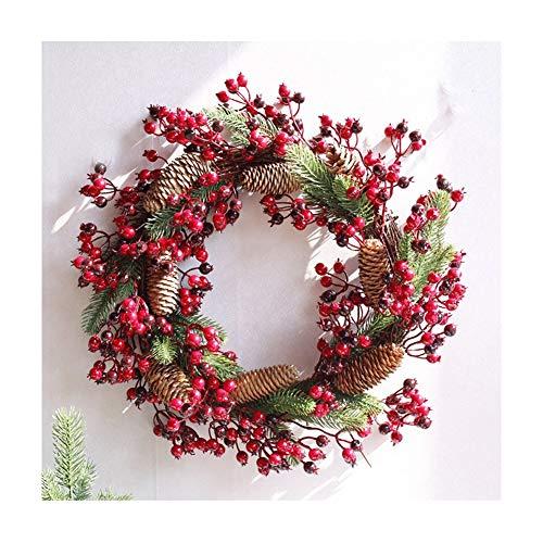 YNGJUEN Künstliche Blumen Weihnachtskranz Türklopfer Berry Kranz Eingang Ornament Tür Kranz Wandbehang Weihnachten Hochzeit Dekoration (rot) 30, 45cm