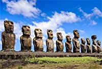 GooEoo AHUトンガリキで8 x 6.5フィートモアイビニール写真背景チリイースター島巨大な石の彫刻像背景歴史的文化遺産遺産観光リゾートスタジオ小道具