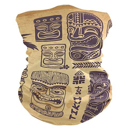 PINLLG Vintage Aloha Tiki Bandana con filtro de la cara de la cubierta lavable para el polvo deporte mágico bufanda cuello polainas multifuncional
